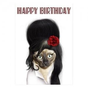 Photo of Amy Winehouse Cat Birthday Card